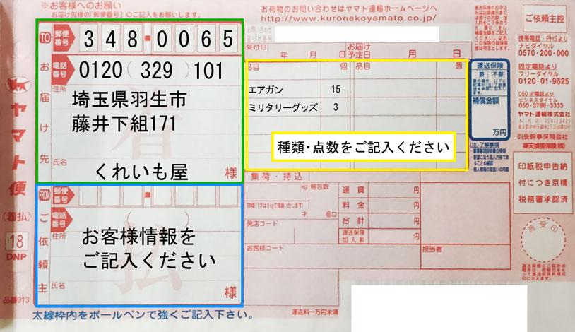 ヤマト便の配送伝票記入例